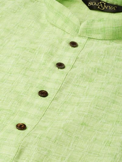 Sojanya (Since 1958), Men's Cotton Blend Green Woven Design ONLY Long Kurta