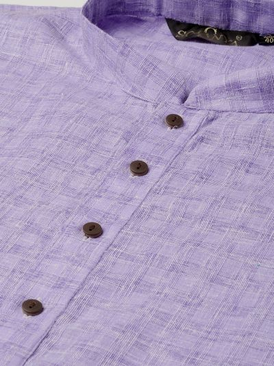 Sojanya (Since 1958), Men's Cotton Blend Purple Woven Design ONLY Long Kurta