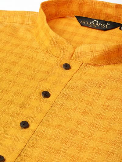 Sojanya (Since 1958), Men's Cotton Blend Mustard Woven Design ONLY Long Kurta
