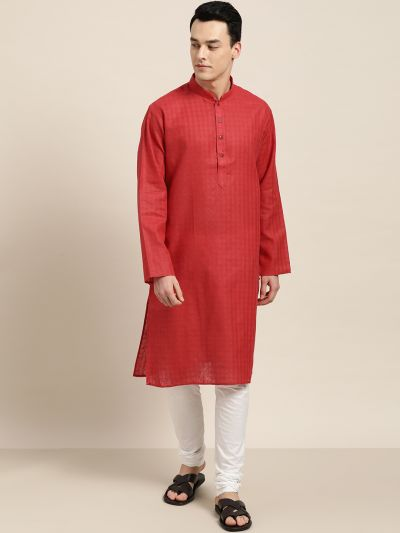 Sojanya (Since 1958), Men's Cotton Blend Red Woven Design ONLY Long Kurta
