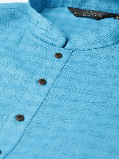 Sojanya (Since 1958), Men's Cotton Blend Peacock Blue Woven Design ONLY Long Kurta