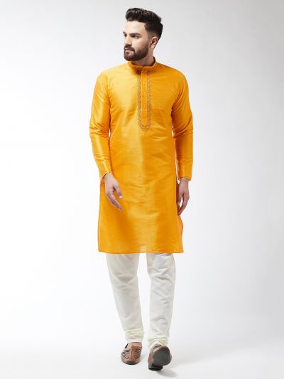 Sojanya (Since 1958), Men's Silk Blend Mustard ONLY Long Kurta