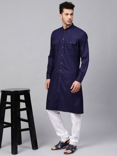 Sojanya (Since 1958), Men's Cotton Navy Blue Only Long Kurta