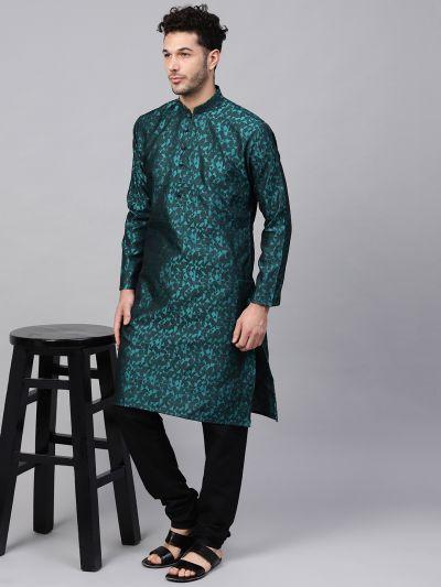 Sojanya (Since 1958), Men's Silk Blend Teal Green Self Design Only Long Kurta