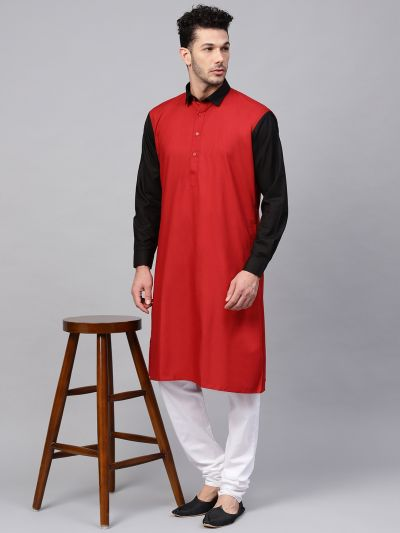 Sojanya (Since 1958), Men's Cotton Maroon Only Long Kurta
