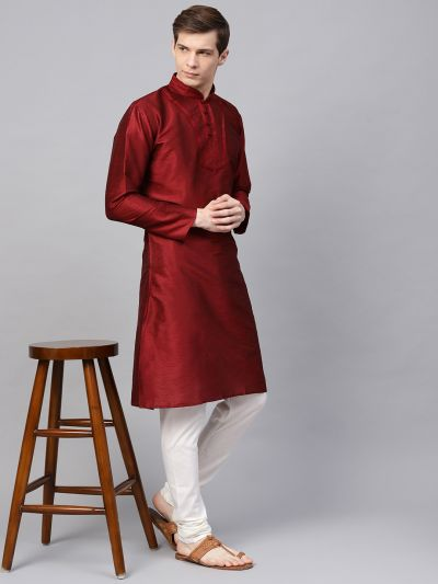 Sojanya (Since 1958), Men's Silk Blend Maroon Only Long Kurta
