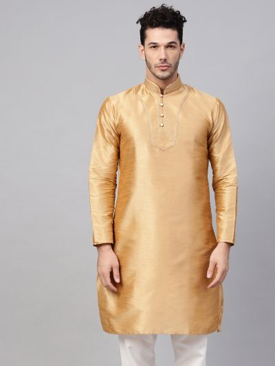 Sojanya (Since 1958), Men's Silk Blend Gold Only Long Kurta