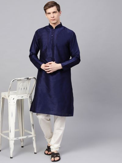Sojanya (Since 1958), Men's Silk Blend Navy Blue Only Long Kurta