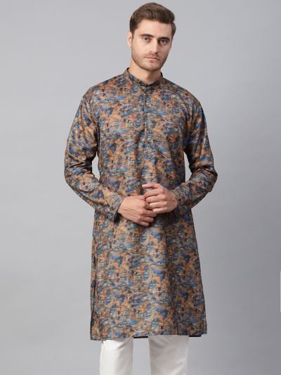 Sojanya (Since 1958), Men's Cotton Blend Multicolor Printed ONLY Long Kurta