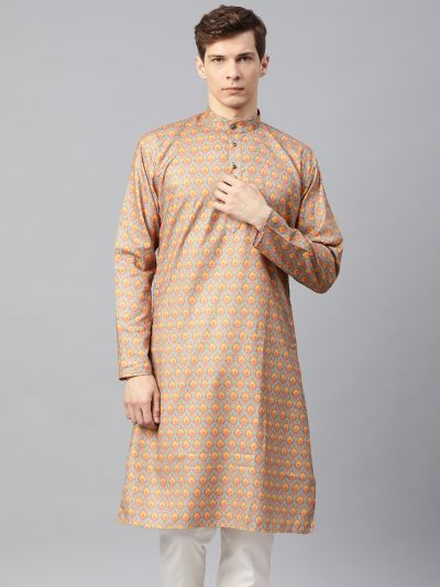 Sojanya (Since 1958), Men's Cotton Blend Orange Printed ONLY Long Kurta