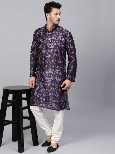 Sojanya (Since 1958), Men's Silk Blend Navy Blue Printed ONLY Long Kurta