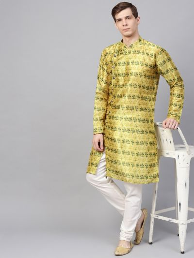 Sojanya (Since 1958), Men's Silk Blend Lime Green Printed ONLY Long Kurta
