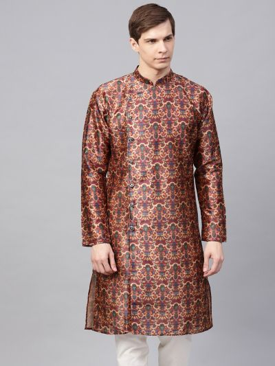 Sojanya (Since 1958), Men's Silk Blend Maroon Printed Only Long Kurta