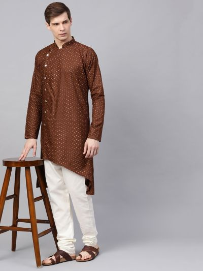Sojanya (Since 1958), Men's Cotton Blend Dark Brown Printed Asymmetric Only Long Kurta