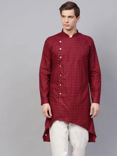 Sojanya (Since 1958), Men's Cotton Blend Maroon Printed Asymmetric Only Long Kurta