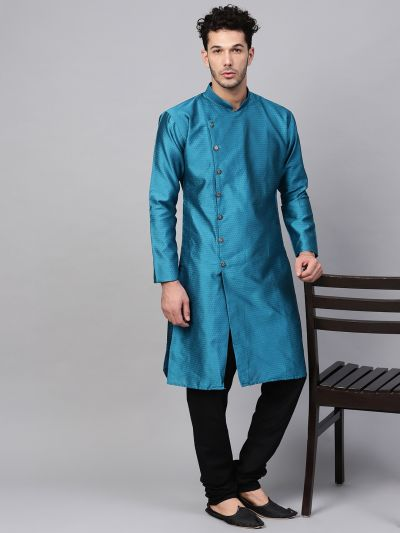 Sojanya (Since 1958), Men's Silk Blend Peacock Blue Self Design Only Long Kurta