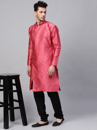 Sojanya (Since 1958), Men's Silk Blend Pink Self Design Only Long Kurta