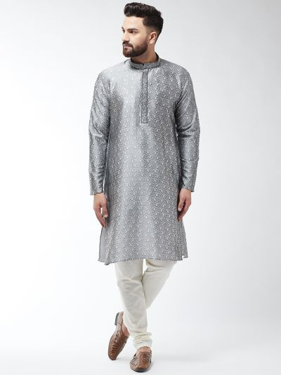 Sojanya (Since 1958), Men's Silk Blend Grey Kurta and Off White Churidar Pyjama Set