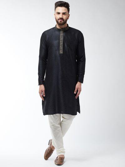 Sojanya (Since 1958), Men's Silk Blend Black Kurta and Off White Churidar Pyjama Set