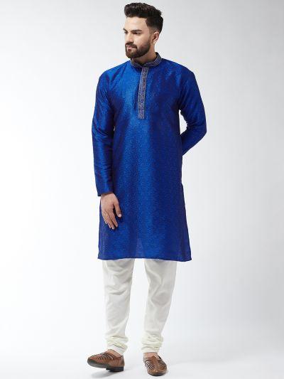 Sojanya (Since 1958), Men's Silk Blend Royal Blue Kurta and Off White Churidar Pyjama Set