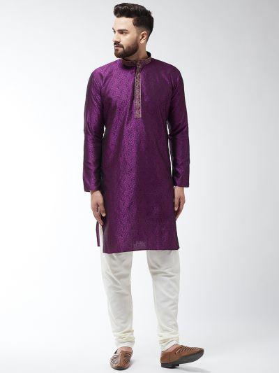 Sojanya (Since 1958), Men's Silk Blend Purple Kurta and Off White Churidar Pyjama Set