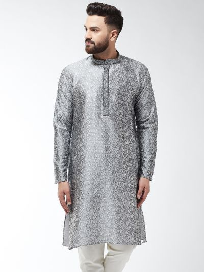 Sojanya (Since 1958), Men's Silk Blend Grey Self Design ONLY Long Kurta