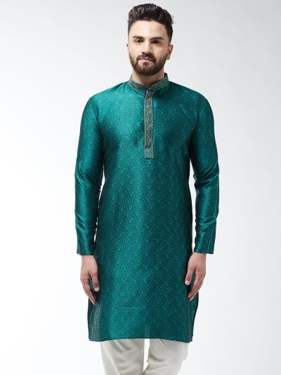 Sojanya (Since 1958), Men's Silk Blend Teal Green Self Design ONLY Long Kurta