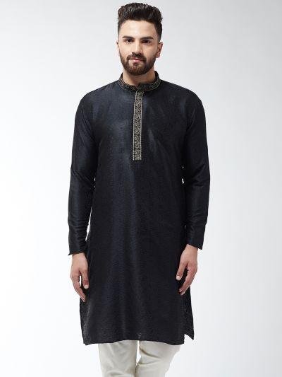 Sojanya (Since 1958), Men's Silk Blend Black Self Design ONLY Long Kurta