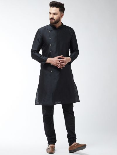 Sojanya (Since 1958) Men's Silk Blend Black Kurta & Black Churidar Pyjama Set