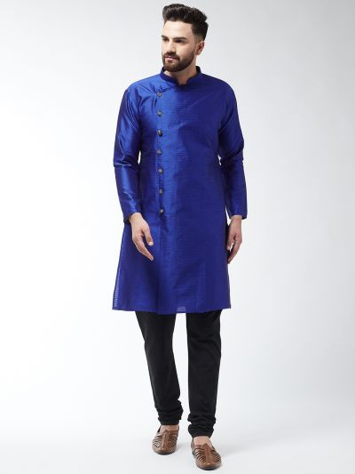Sojanya (Since 1958) Men's Silk Blend Royal Blue Kurta & Black Churidar Pyjama Set