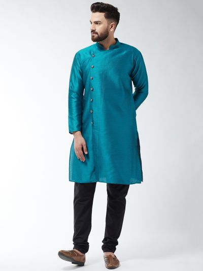 Sojanya (Since 1958) Men's Silk Blend Peacock Blue Kurta & Black Churidar Pyjama Set