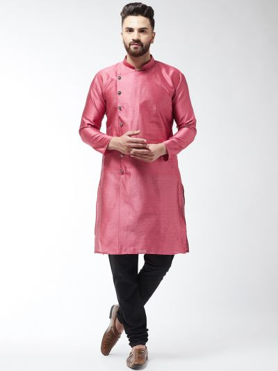 Sojanya (Since 1958) Men's Silk Blend Pink Kurta & Black Churidar Pyjama Set