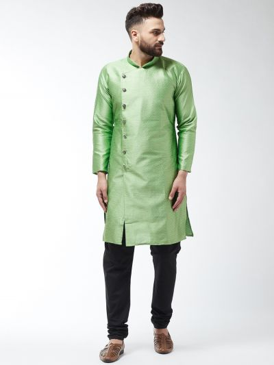 Sojanya (Since 1958) Men's Silk Blend Sea Green Kurta & Black Churidar Pyjama Set