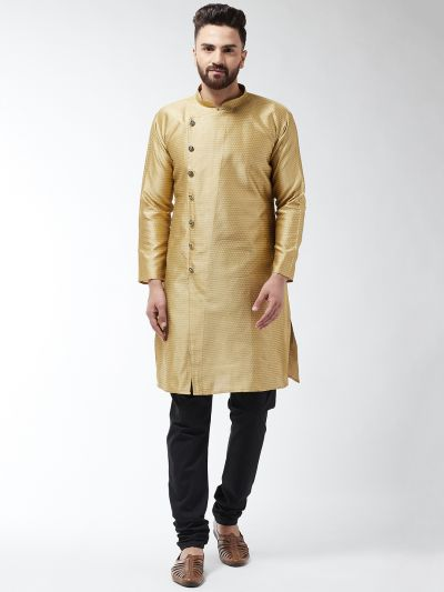 Sojanya (Since 1958) Men's Silk Blend Gold Kurta & Black Churidar Pyjama Set