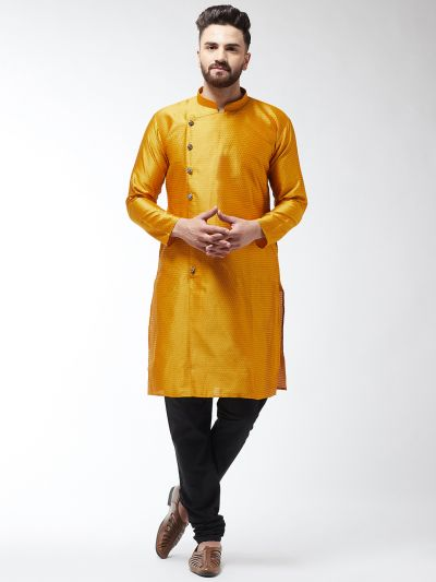 Sojanya (Since 1958) Men's Silk Blend Mustard Kurta & Black Churidar Pyjama Set