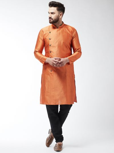 Sojanya (Since 1958) Men's Silk Blend Peach Kurta & Black Churidar Pyjama Set
