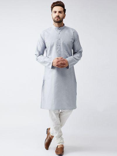 Sojanya (Since 1958), Cotton Linen Grey Kurta and Off White Churidar Pyjama Set