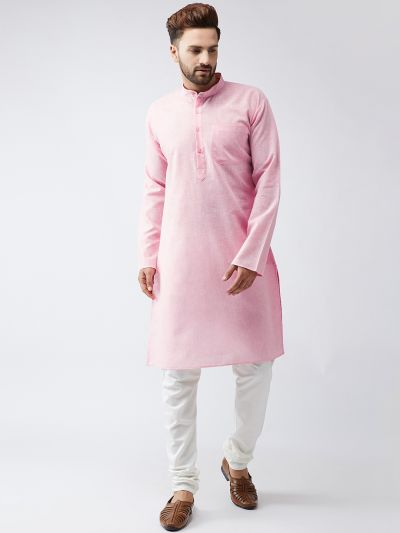Sojanya (Since 1958), Cotton Linen Pink Kurta and Off White Churidar Pyjama Set