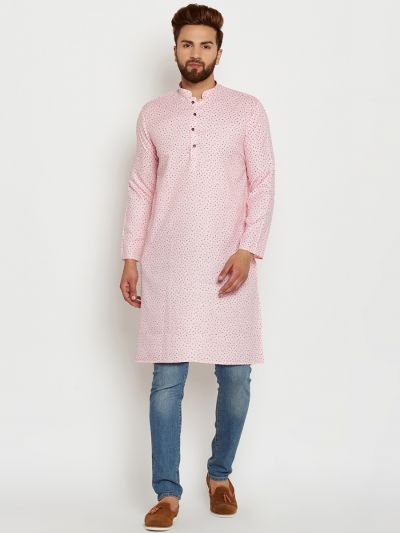 Sojanya (Since 1958), Mens Cotton Pink Printed ONLY Long Kurta