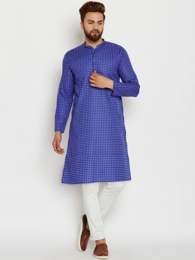 Sojanya (Since 1958), Mens Cotton Blue Printed ONLY Long Kurta