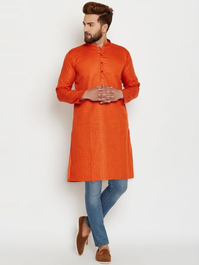 Sojanya (Since 1958), Mens Cotton Orange Printed ONLY Long Kurta