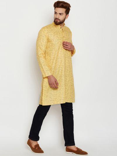 Sojanya (Since 1958), Mens Cotton Yellow Printed ONLY Long Kurta
