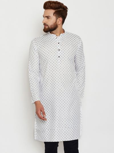 Sojanya (Since 1958), Mens Cotton White Printed ONLY Long Kurta