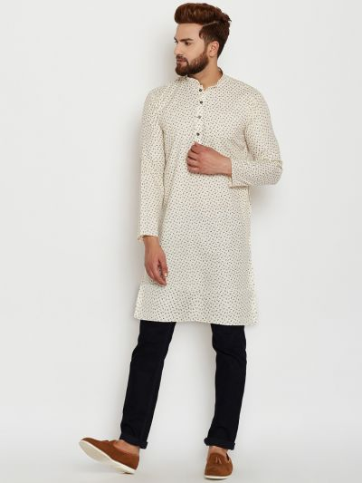 Sojanya (Since 1958), Mens Cotton Beige Printed ONLY Long Kurta
