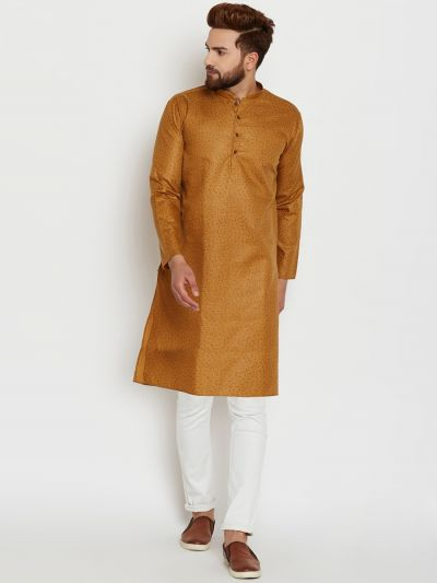 Sojanya (Since 1958), Mens Cotton Brown Printed ONLY Long Kurta