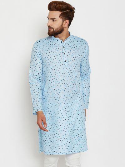 Sojanya (Since 1958), Mens Cotton Blue Printed ONLY Long Kurta
