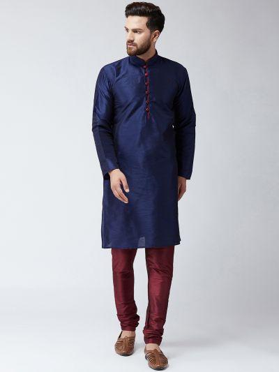 Sojanya (Since 1958), Men's Silk Navy Blue Kurta & Maroon Churidar Pyjama Set