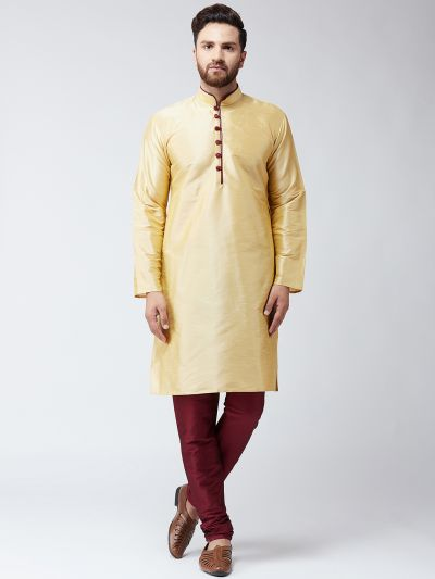 Sojanya (Since 1958) Men's Silk Gold Kurta and Maroon Churidar Pyjama Set