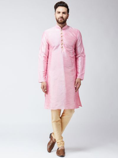 Sojanya (Since 1958) Men's Silk Pink Kurta & Gold Churidar Pyjama Set