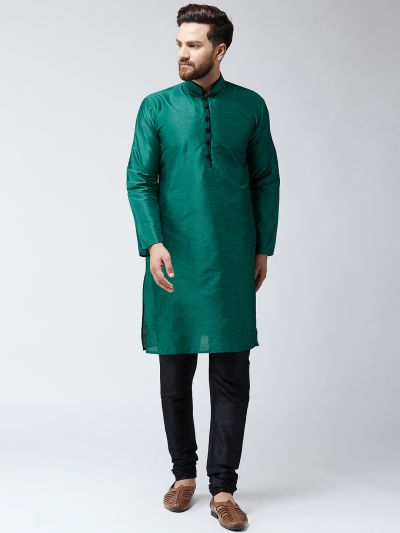 Sojanya (Since 1958) Men's Silk Dark Green Kurta & Black Churidar Pyjama Set